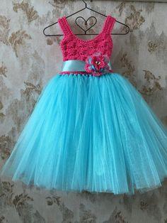 Hot pink and Aqua empire tutu dress crochet tutu dress by Qt2t
