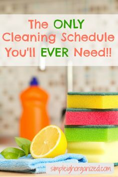 This cleaning schedule has helped me keep my house cleaner for longer periods of time. It only takes a little bit of time each day and it really works!