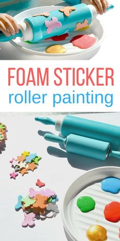 foam sticker roller painting for toddlers and preschool