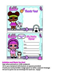 Printable Lol Surprise party invitations.