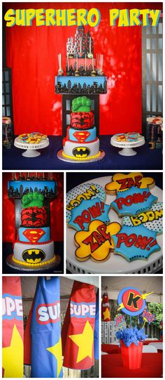 Para as mamães que estão organizando as festinhas... olhem que lindaaa essa festa de super heróis.