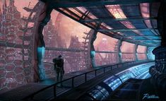 "Science Fiction World — ""Space Station"" by Mike Paolilli. Cyberpunk City, Arte Cyberpunk, Futuristic Interior, Futuristic City, Spaceship Interior, Sci Fi Environment, Environment Design, Sci Fi Stadt, Dreamland"