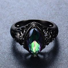 Vintage Rainbow Sapphire Ring, Sapphire is a stone of intuition and meditation. Using a sapphire during meditation can enhance ones innate intuition and brin Fantasy Jewelry, Gothic Jewelry, Gothic Rings, Cute Jewelry, Jewelry Accessories, Unique Jewelry, Men's Jewelry Rings, Black Gold Jewelry, Black Rings