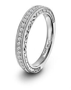 Novell Design Studio Platinum and Diamond Wedding Band