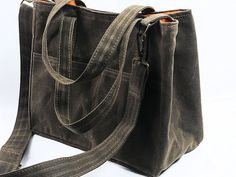 Waxed Canvas City Tote Bucket Bag Messenger Purse Shoulder Strap Vegan Leather by WhiteCross Designs MGX TOTE ships from USA Made to Order