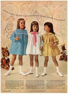 1965 Sears Christmas Book, Page 136 - Christmas Catalogs & Holiday Wishbooks Vintage Kids Fashion, Vintage Kids Clothes, 1960s Fashion, Vintage Children, Vintage Stuff, Outfits Niños, Outfits For Teens, Baby Girl Fashion, Teen Fashion