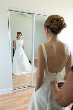 Bateau Neckline White Satin Wedding Dress with Low