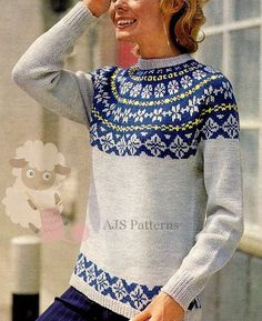 PDF Knitting Pattern for a Ladies Norwegian or  Fair Isle Sweater