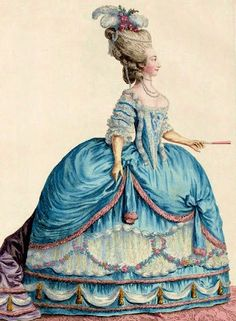 rococo fashion plate, big skirt, ribbons on every part