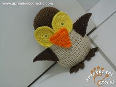 Peso de Porta - Amigurumi Coruja de Crochê - Decorações em Crochê - Aprendendo Croche