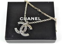 "Auth Chanel Silvertone Jumbo CC Logo Pendant 22"" Long Necklace 98"