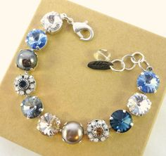Swarovski crystal bracelet 12mm neutrals blue  tan by SiggyJewelry  Sabika inspired bracelet.