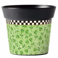 This 6 inch metal pot is handcrafted in India, then printed in the USA. Drop in a or plant and you've created an easy gift-to-go! Also makes a terrific mini gift basket! Just fill it with Indoor Flower Pots, Mosaic Flower Pots, Flower Planters, Planter Pots, Painted Clay Pots, Painted Flower Pots, Painted Jars, Hand Painted, Vasos Vintage