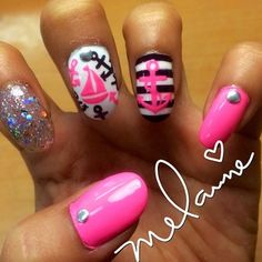 Pink, White, Black and Glitter! Sailor Nails in glitter and girl style!