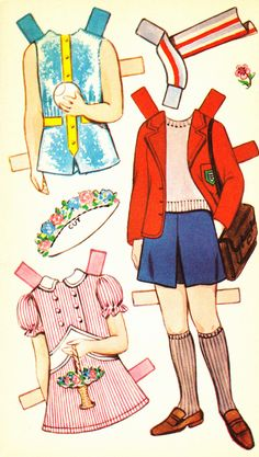 Karen Cut Out Doll Dressing Storybook (6 of 6), 1950s, Sandles. This page of clothes is identical to one in Shirley, also published by Sandles
