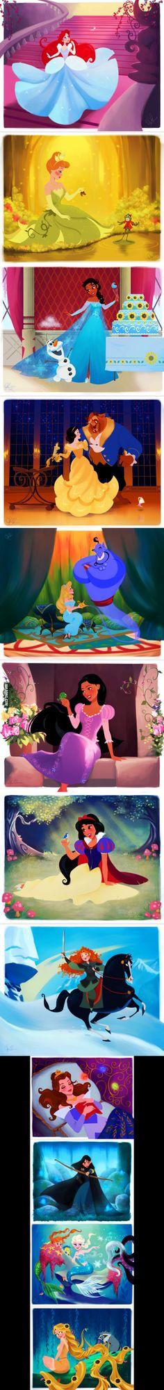 Disney princess dresses, Disney princess Disney, Disney pixar, Disney and dreamworks, Disney princess - Disney Princesses dressed as other Disney Princesses - Disney Pixar, Walt Disney, Disney Punk, Disney Amor, Humor Disney, Disney Fan Art, Cute Disney, Disney Girls, Disney And Dreamworks