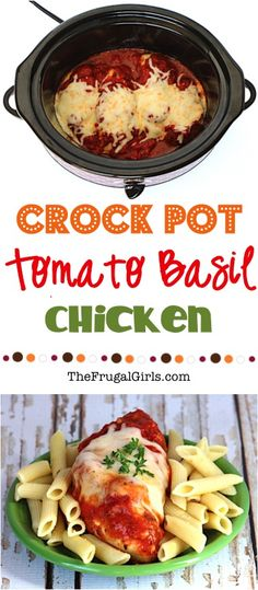 Crockpot Tomato Basil Chicken. I love trying new crockpot recipes! The chicken was tasty and tender.