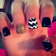 black & gold with chevron