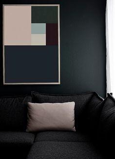 #interior #decor #styling #modern #dark #black #grey #blue #pink