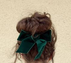 Velvet Hair Bow Barette - Green or Black - FREE SHIPPING WORLDWIDE