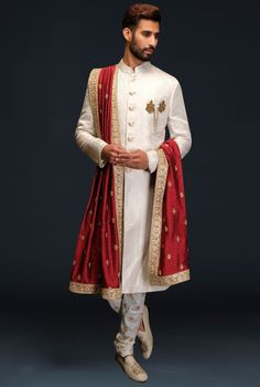 Ivory embroidered sherwani set by Gujralsons Sherwani For Men Wedding, Sherwani Groom, Wedding Dress Men, Wedding Suits, Indian Wedding Clothes For Men, Indian Wedding Outfits, Indian Men Fashion, Indian Bridal Fashion, Marriage Dress For Men