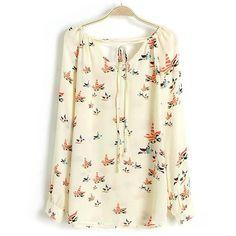 Summer Women Shirt Chiffon Floral Print Long Sleeve