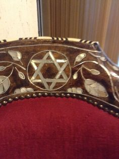 Jewish Arm Chairs Of Wood, Pearl, Ivory, Silver, Damscus Art #DamascusArt  #silver #ivory #motherofpearl #solidwood