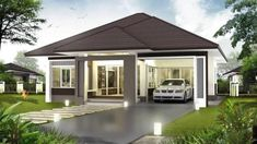 3 Concepts of Bungalow House - House And Decors Modern House Floor Plans, 3d House Plans, Model House Plan, Family House Plans, 3 Storey House Design, One Storey House, Bungalow Haus Design, Modern Bungalow House, Cool House Designs