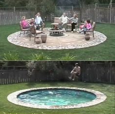 Hidden Pool. SO cool, turns into a patio... safer and more practical for cold weather months! Genius!