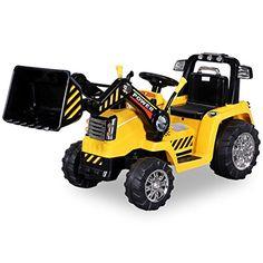 Kinder Elektrobagger in gelb mit 2 x 25 Watt Motoren Elektro Bagger Kinderauto Kinderfahrzeug