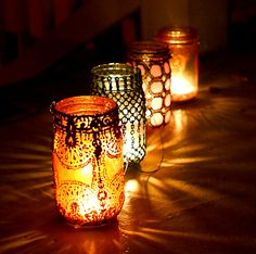 Hand Painted Mason Jar Lantern, With Copper and Gold Accents. $24.00, via Etsy.