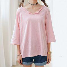 2016夏季韩版新款蝙蝠袖宽松糖果色t恤大码七分袖纯色简约上衣女