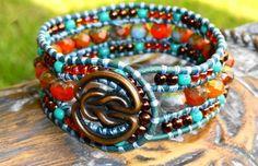 3 Row Leather Cuff Bracelet - The Harvest Moon Cuff $62