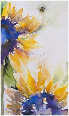 Brilliance: sunflower study | Angela Fehr, watercolor