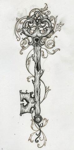 antique key tattoo   vintage key tumblr schl ssel tattoo lilz romawi style skeleton key ...