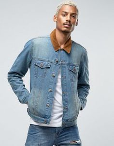 new arrival 2363f 05282 ASOS Slim Fit Denim Jacket With Contrast Cord Collar In Blue Street Wear,  Contrast,
