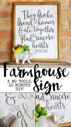 A farmhouse sign with no woodworking or tools, no stenciling or painting, and done in around ten minutes? It's not to good to be true! See how!
