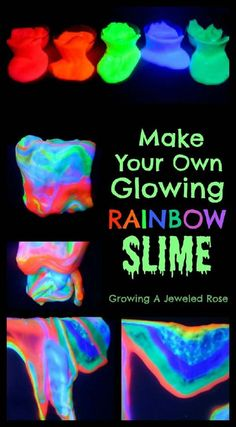 Best DIY Slime Recipes - DIY Glowing Rainbow Slime - Cool and Easy Slime Recipe Ideas Without Glue, Without Borax, For Kids, With Liquid Starch, Cornstarch and Laundry Detergent - How to Make Slime at Home - Fun Crafts and DIY Projects for Teens, Kids, Teenagers and Teens - Galaxy and Glitter Slime, Edible Slime http://diyprojectsforteens.com/diy-slime-recipes