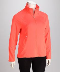 Take a look at this Neon Mango Plus-Size Track Jacket by Kaktus on #zulily today!