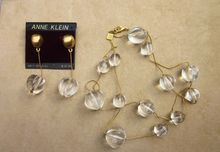 Anne Klein  Super Lucite Couture Vintage  Signed Set  with Pierced Earrings