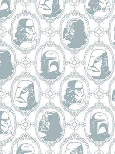 Geekery.  Graphic Design / Wallpaper.  Love that there is Star Wars wallpaper, do not like that is cost $75 a half roll. I will get this one day for my son's room.