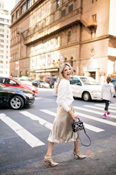 Gold skirt for $45. Fall fashion outfit ideas.