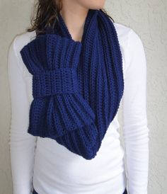Navy Blue Bow Infinity Scarf, Chunky Neck Warmer / Cowl, handmade, crocheted, Women's Accessory, READY TO SHIP
