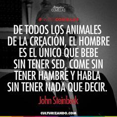 De todos los animales de la creación, el hombre es el único que bebe sin tener sed, come sin tener hambre y habla sin tener nada que decir. John Steinbeak