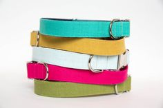 Colorful Washed Linen Dog Collars  Colors in by pecanpiepuppies