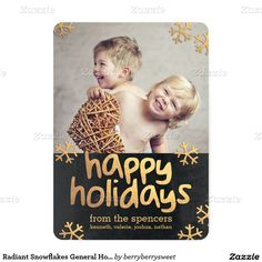 Radiant Snowflakes General Holiday Photo Cards