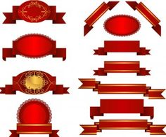 Red title ribbons vector