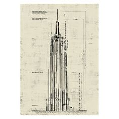 Empire State Building Wall Art - Creme
