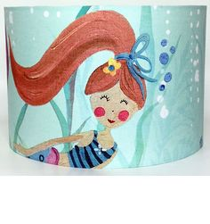 Mermaid with Red Hair Large Fabric Ceiling Shade online at Children's Rooms Ceiling Shades, Lamp Shades, Light Shades, Fabric Ceiling, Mermaid Fabric, Mermaid Swimming, Kids Lighting, Sea Theme, Bedroom Themes