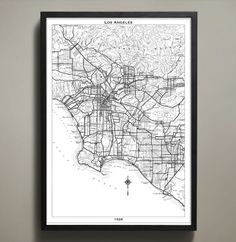 Explore the early days of the City of Angels with this striking Los Angeles city map. Reproduced using high quality cardstock and premium ink, this LA poster features all the waterways, streets, and m